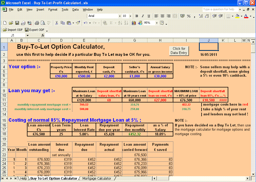 Buy To Let profit calculator picture